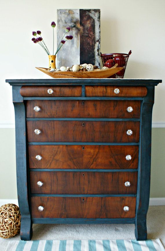 Empire Dresser/Tall Chest/Dresser with Vintage Glass Knobs SOLD on Etsy, $520.00 ....... so in love with that beautiful wood on the drawer fronts!!!