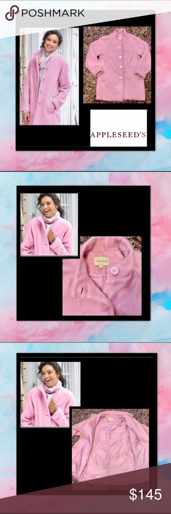 """Appleseeds🎀Light Pink🎀Cotton Candy🎀Fluff 🎀Coat So feminine🎀Light & Lofty Pink Carnation Fluff Coat🎀as light and airy as cotton candy🎀Flattering three-quarter length, in ultrasoft,lofty poly/acrylic/wool 🎀Stand collar 🎀raglan sleeves 🎀welt pockets 🎀turn-back cuff 🎀fully lined 🎀34""""L 🎀 🎀23""""armpit to armpit🎀sz 16 Appleseeds Jackets & Coats Puffers"""