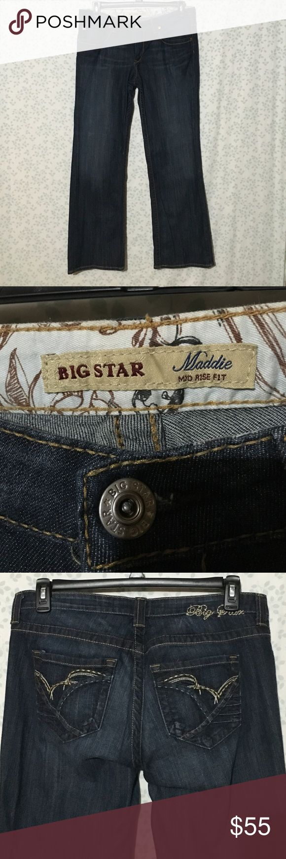 Big Star Maddie Mid Rise Jeans Big Star Maddie mid rise jeans in dark wash. Like new condition! Size 33R Big Star Jeans