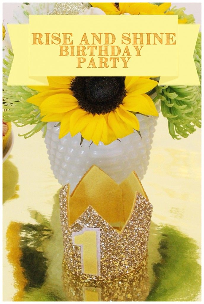 How cute is this rise and shine birthday party theme? I love the gold glitter, yellow accents, and breakfast menu!