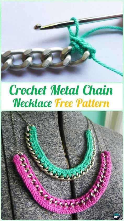 Crochet Metal Chain  Necklace Free Pattern  - #Crochet; #Jewelry Necklace Free Patterns