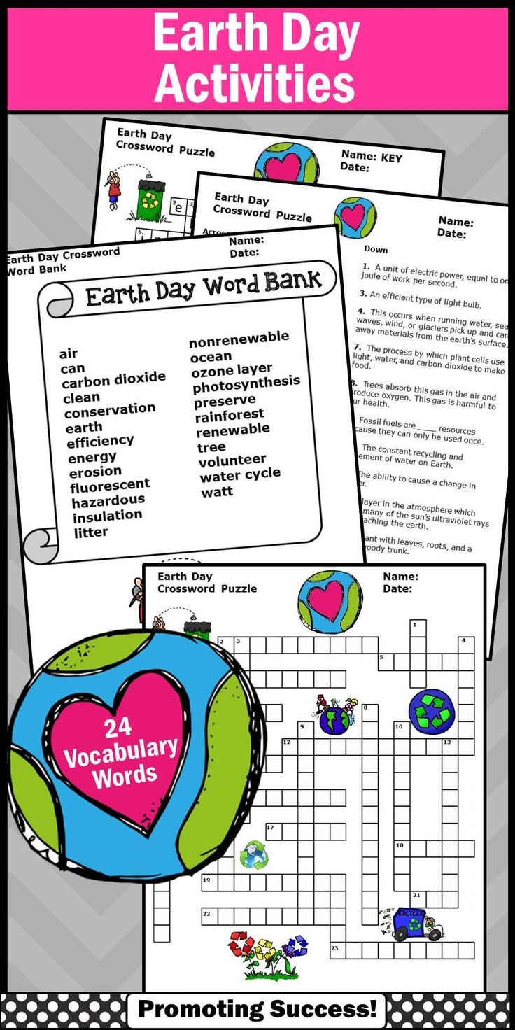 Earth Day Crossword Puzzle Worksheet For Environmental