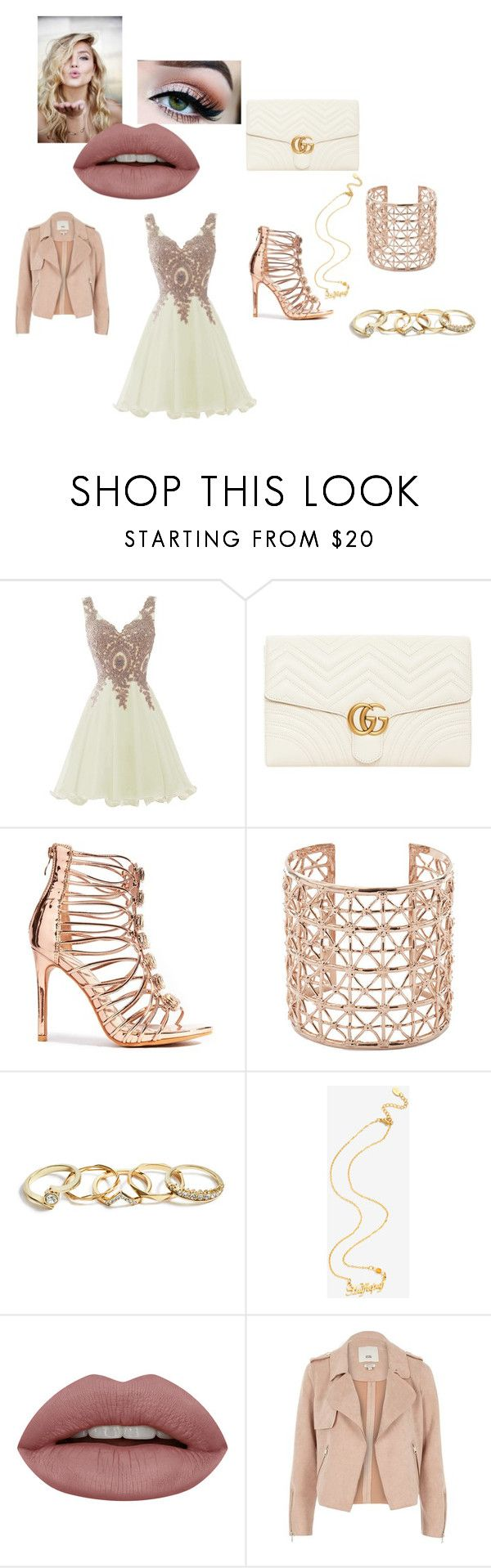 """""""the winter ball"""" by shannon-tilley on Polyvore featuring Gucci, Co.Ro, GUESS, Warner Bros. and River Island"""