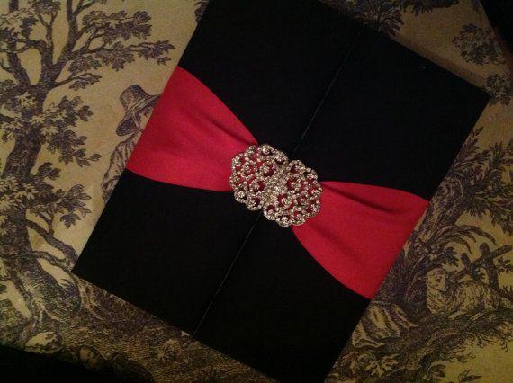 Beautiful elegant romantic Black Satin Wedding Invitation Folio with Hot Pink Satin Ribbon &Swarovski Brooch White Mailing Box THERMOGRAPHY on Etsy, $35.00