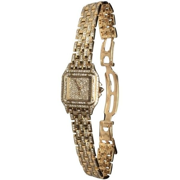 Pre-owned Cartier panther watch with diamonds ($42,895) ❤ liked on Polyvore featuring jewelry, watches, gold, cartier watches, preowned watches, 18k watches, cartier jewellery and diamond watches