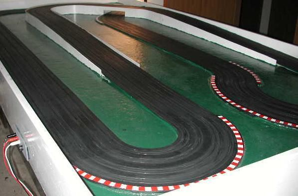 Hairpin Turn With Fisa Curb Tape Applied To Track Border Slot Car Racing Slot Car Tracks Ho Slot Cars