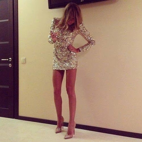 New Year's Eve gold sequin mini dress