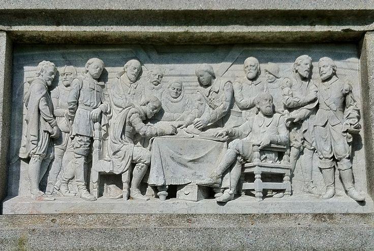 Assinatura do pacto social a bordo do Mayflower. 1889. Baixo relevo. Karl Conrad, Alexander Doyle, & James Mahoney. Encontra-se em Plymouth,  Massachusetts, USA.