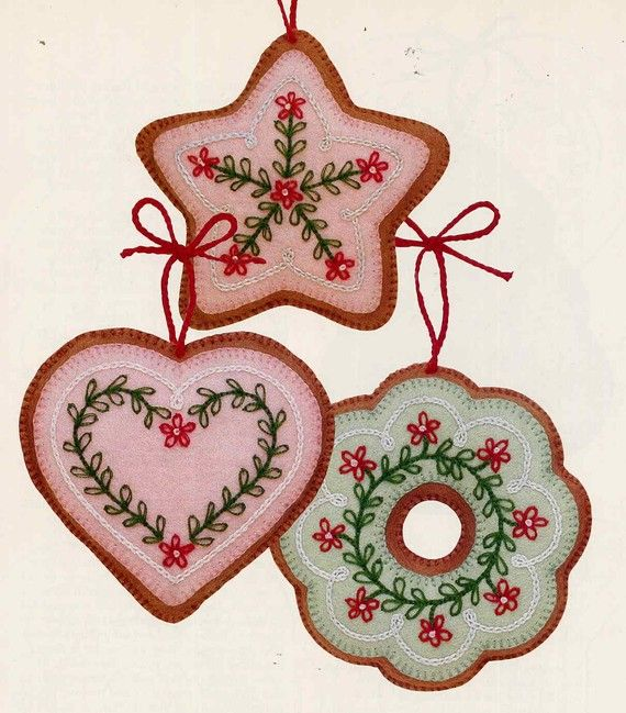 Vintage Frosted Gingerbread Embroidered Felt Cookie Christmas Ornaments Pattern--Plus Felt Doll Shoe Ornaments