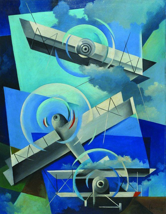 "Tullio Crali (1910- 2000) was an Italian artist associated with Futurism. A self-taught painter, he was a late adherent to the movement, not joining until 1929. He is noted for realistic paintings that combine ""speed, aerial mechanisation and the mechanics of aerial warfare"",[ though in a long career he painted in other styles as well."