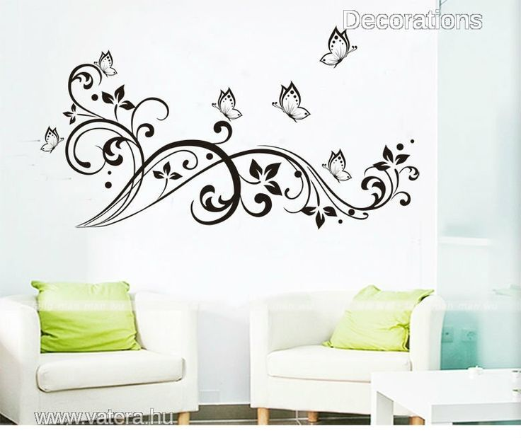 Nonfiguratív virág pillangókkal, falmatrica - 3000 Ft - Nézd meg Te is Vaterán - Falmatrica, faltetoválás - http://www.vatera.hu/item/view/?cod=2283399146