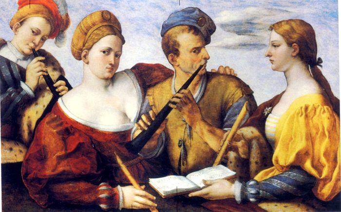 anon. venetia. Concert, 1530-40. Vercelli, Museo Francesco Borgogna. Muziek als metafoor voor de liefde, thema en uitbeelding typisch voor Venetië in de 16de E. geen sleutels in boekje alles zelfde ritme. Niet leesbaar