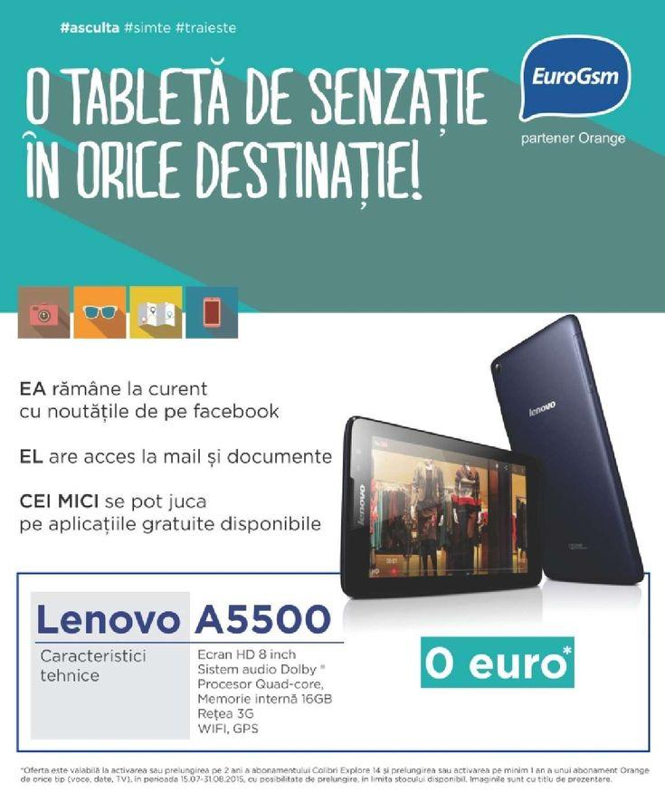 "Catalog EuroGsm ""O tableta de senzatie in orice destinatie!"" Oferte valabile in perioada August - Septembrie 2015! Oferte: LG G4 255€; HTC One M8s 65€."