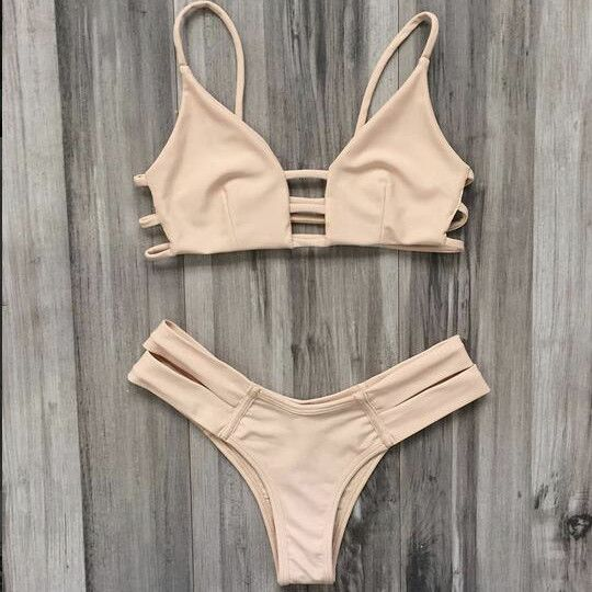 """Item Type: Bikini Material: Polyester Pattern: Solid Color Style: Sexy Color: Beige Size: XS (US size) Bust: 31-33"""", Waist: 23-25"""", Hips: 33-35"""" S (US size) Bust: 33-35"""", Waist: 25-27"""", Hips: 35-37"""" M"""