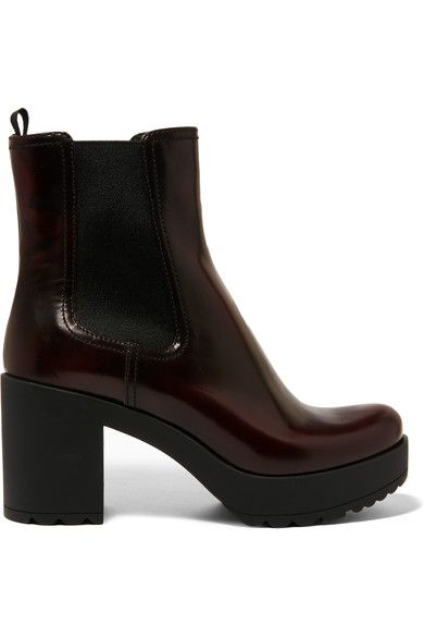 Prada - Glossed-leather Platform Chelsea Boots - Burgundy - IT40.5