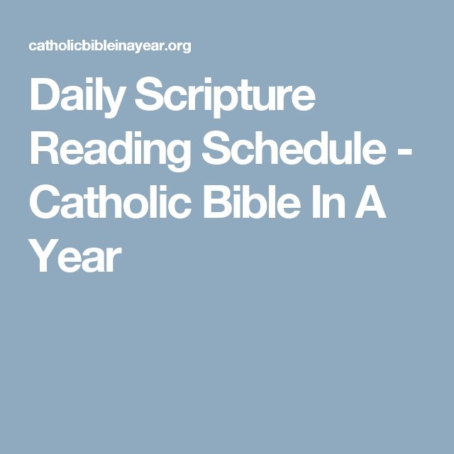 Daily Scripture Reading Schedule - Catholic Bible In A Year