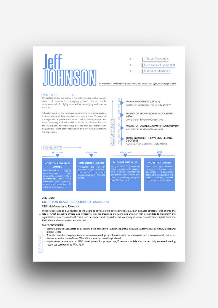the London resume design in blue