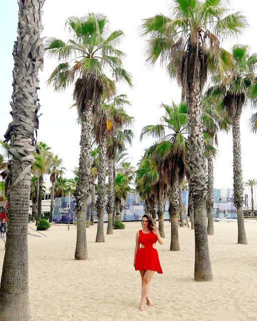 My getaway vacation in Salou, Spain  #salou #spain #tarragona #reddress #palms #beach #bestbeach #spainish beach #sand #caribbean #beachhair