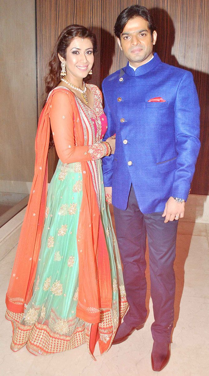 Karan Patel with bride-to-be Ankita Bhargava at their sangeet. #Bollywood #Fashion #Style #Beauty