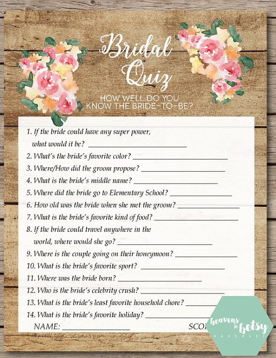Rustic Watercolor Floral And Wood Bridal Quiz Bridal Shower Amp Wedding Game