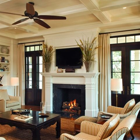 Fireplace In Between Patio Doors Home Design Ideas, Pictures, Remodel and Decor