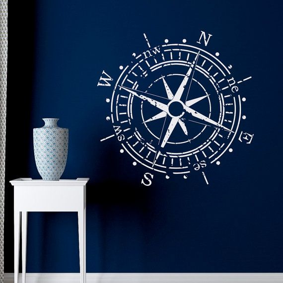 Compass Rose Wall Decal Vinyl Sticker North South by FabWallDecals