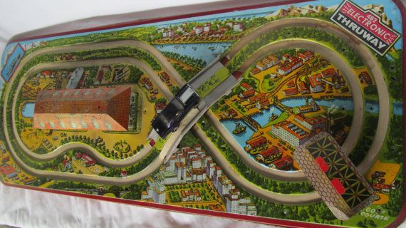 Tin Toy Race Track 482 Electronic Thruway 3-D by ReVintageLannie https://www.etsy.com/listing/156109346 https://www.etsy.com/shop/ReVintageLannie