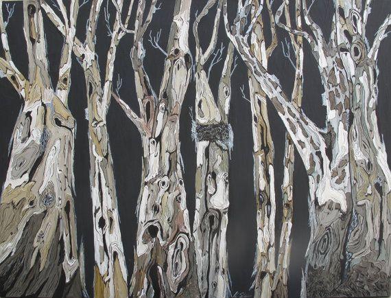 ORIGINAL large Painting Tree Art w/ Bark Eucalyptus by ShoaGallery