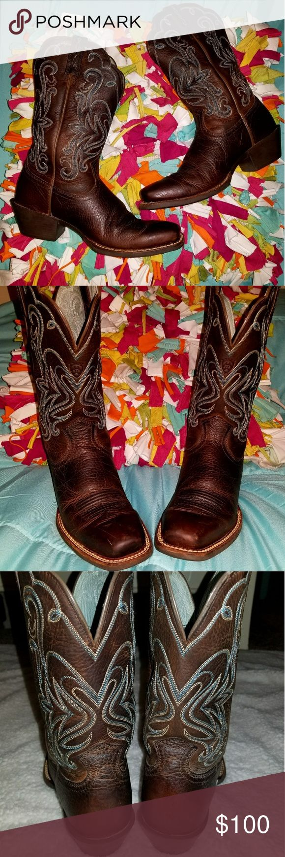 Womens New Ariat boots 💖 Women's new Ariat boots size 7.5B....They were worn one time around my house and never wore again so they are just taking up space. I paid $180+tax for them at cavenders so would like to get $100 OBO. I'm located Yukon, Oklahoma. Will ship or meet if your close to me. If interested/have any additional questions or additiona pictures you can text me at 4056682480 or email t23j25m2@gmail.com 💖💖💖 Ariat Shoes