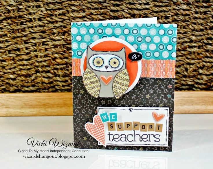 I made this card in support of our BC Teachers.  You are appreciated!  This card uses CTMH Chalk It Up papers - a school themed paper pack.  created by Vicki Wizniuk