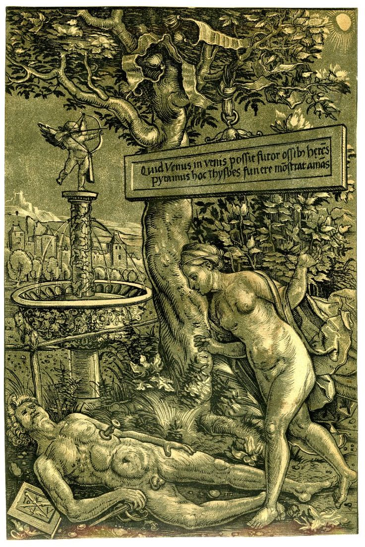 Pyramus and Thisbe; Thisbe at r discovering the body of Pyramus lying on the ground at l with a dagger in his side; landscape background with a large tree at centre and Cupid standing on a fountain at l. c.1510 Colour woodcut printed from two blocks, th Hans Wechtlin