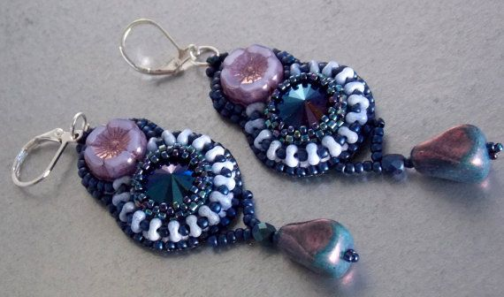 Check out Bead embroidery, Earring, Seed bead jewelry, Fashionable earring, Trending jewelry, Matubo , table cut, royal blue, purple on vicus