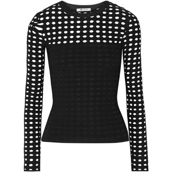 T by Alexander Wang Cutout stretch-jersey top ($205) ❤ liked on Polyvore featuring tops, black, going out tops, party tops, black cut out top, t by alexander wang and black top