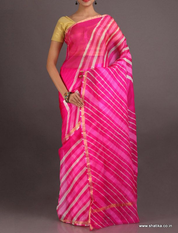 Roli Charming Pink Fine Lines Gold Border #LehariyaSilkSaree