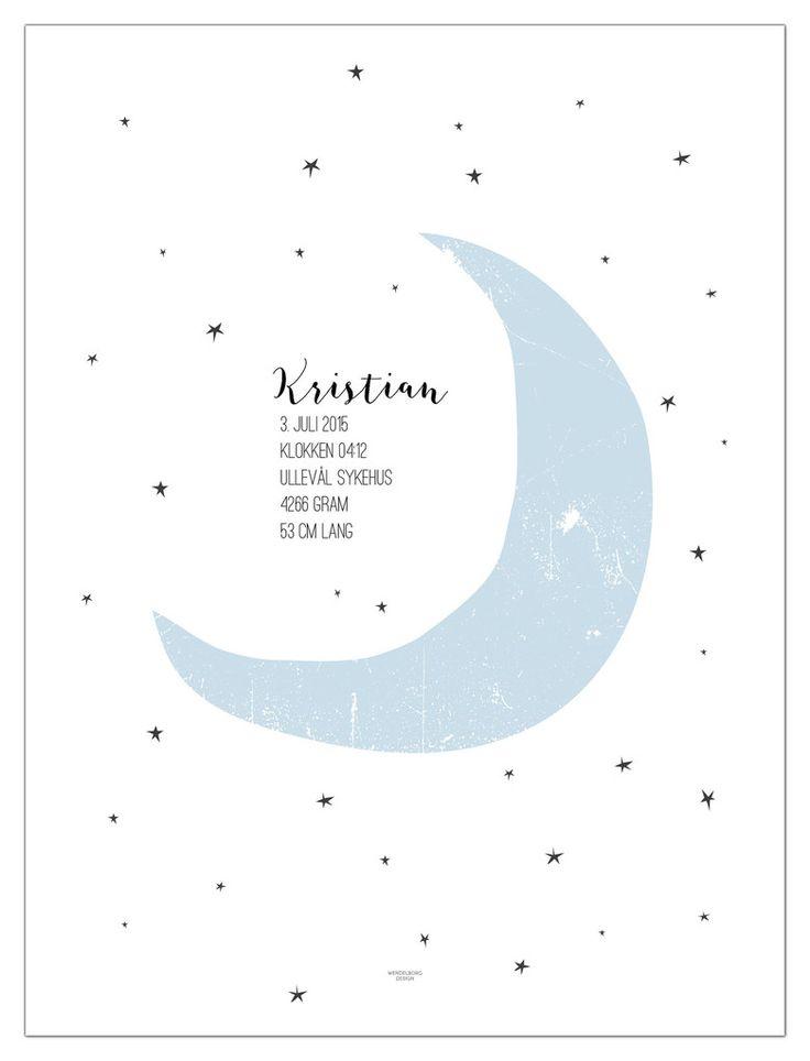 Fødselsplakat til Gutt med blå måne fra www.wendelborgdesign.no