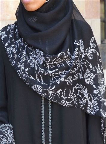 SHUKR Double Edged Flower Print Hijab in black!