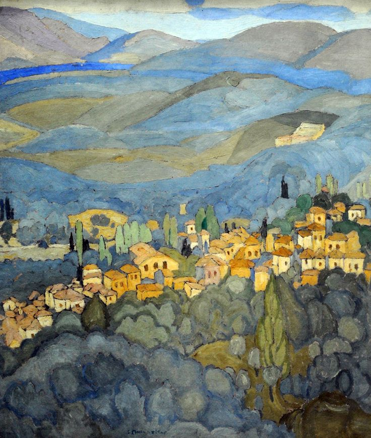 Spyros Papaloukas (Greek, 1892-1957), Mytilene Landscape