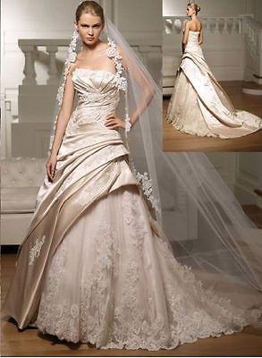 New White/ivory Wedding Dress Bridal Gown Custom Size 4-6-8-10-12-14-16-18+++