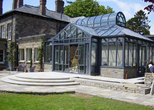 greenhouse attached to country house