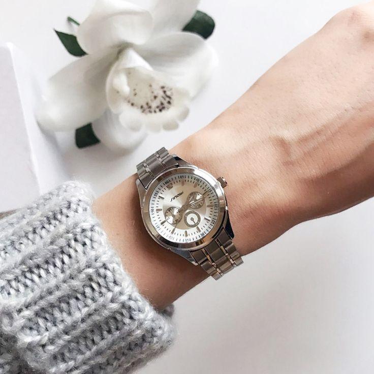 SINOBI Женские часы Элегантная брендовая Известный Роскошные серебряные кварцевые часы дамы стали, антикварные Женева наручные часы Relogio 2017 подарок