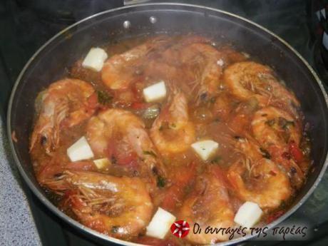 Γαρίδες σαγανάκι - Shrimps Saganaki (Greek recipe)