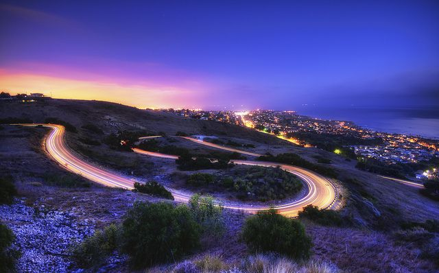 Los Angeles, California ... I've driven this road a dozen times. I enjoyed shifting gears and driving this windy street at night.: San Francisco California, Southern California, Cities Photography, Color, Neil Kremer, The Angel, Exposure Photography, Long Exposure, Green Palo