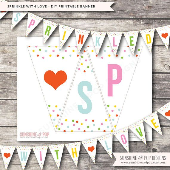 INSTANT DOWNLOAD - DIY Printable Baby Shower Banner Sprinkled With Love  - Baby Sprinkle Party Confetti Decorations Pdf on Etsy, $7.50
