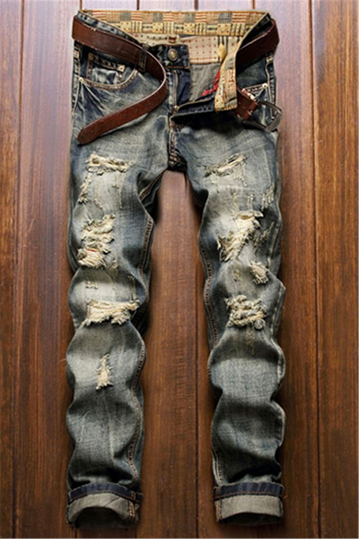 $18.81 Frayed Zipper Fly Five-Pocket Straight Leg Ripped Jeans