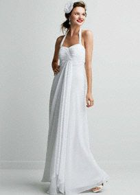 Breezy and beautiful. Made of sheer, flowing chiffon. This halter A-line features a sweetheart neckline and pleated, surplice empire bodice. Center draping provides added interest and flattering coverage for all body types. Back zip. Imported polyester. Dry clean only.  To protect your dress, try our Non Woven Garment Bag.