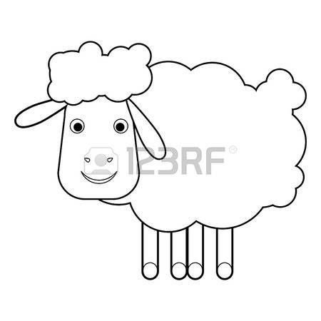 Schapen op een witte achtergrond vector illustratie illustratie van cartoon schapen Schets illustratie voor een kleurboek alles in een enkele laag