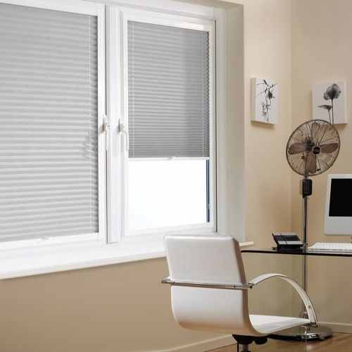 A Grey Colour PerfectFit Pleated Blind it is ideal for PVC windows