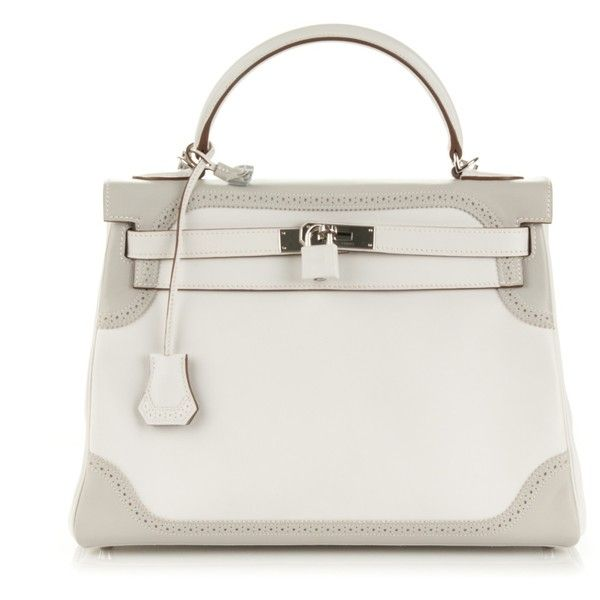 HERMES Togo Swift Ghillies Kelly 32 Blanc White Gris Perle ❤ liked on Polyvore featuring bags, handbags, tote handbags, leather handbags, leather hand bags, handbags totes and leather tote