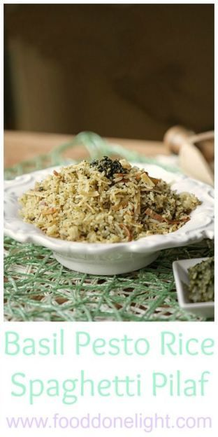 The best rice dish !Basil Pesto Rice Spaghetti Pilaf (Copycat Rice a Roni) Low Calorie, Low Fat, Healthy Recipe for dinner.  Add chicken and a salad to make it a meal