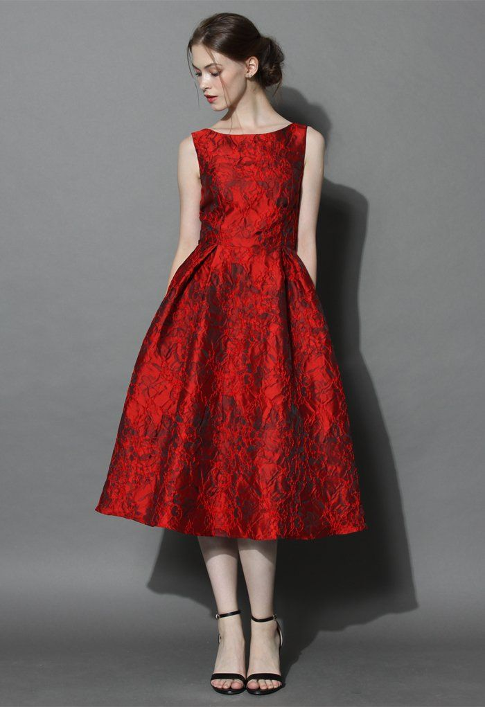 Red Glamour Embossed Prom Dress - Retro, Indie and Unique Fashion